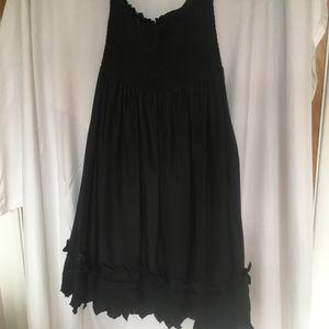 BCBG MaxAria Silk black strapless dress S